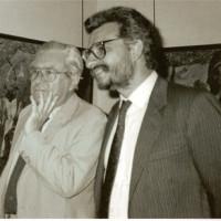 El pintor Roberto Matta en la exposicin de Boix en Paris